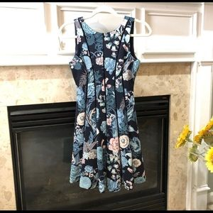WHBM Floral Navy Blue Dress Scuba